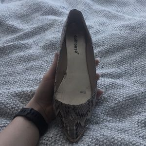 Doll house faux snake skin pointed flats